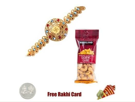 24 Ct. Gold Plated Swastik  Rakhi with Cashews