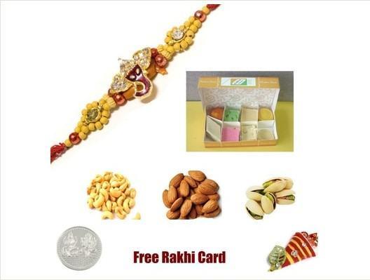 Ganesha rakhi & Assorted Sweets with Assorted Dryfruits