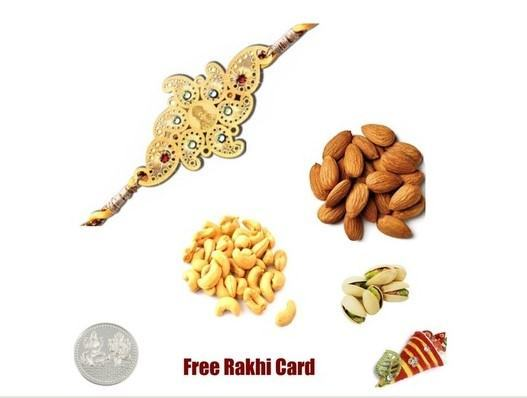 24 Ct. Gold Plated Rakhi with  Mixed Dryfruits