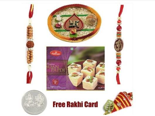 2 Rakhi & Rakhi Thali with Haldiram Soan Papadi small