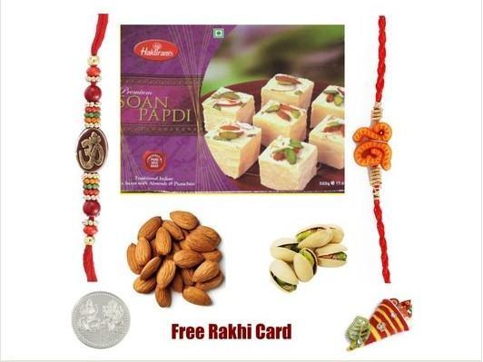 2 Rakhi & Soan Papadi Dryfruit Rakhi Pack