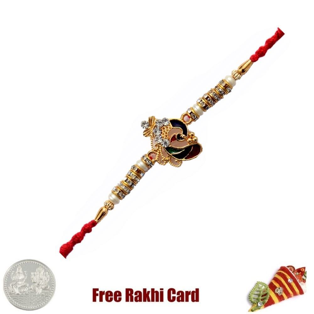 Jewelled Ganesh  Rakhi with Free Silver Coin