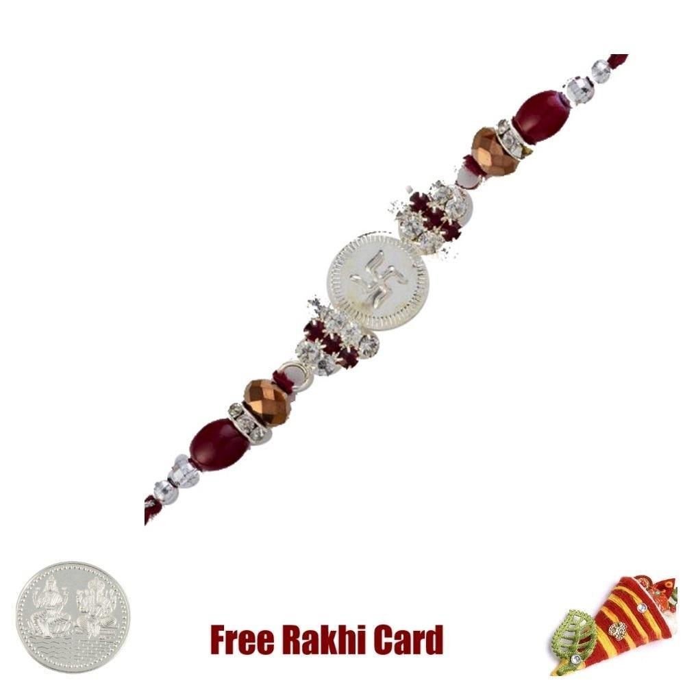 Jewelled Striking Swastik Rakhi with Free Silver