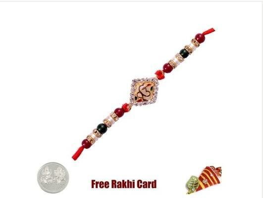 Jewelled Om in Circle Rakhi with Free Silver Coin