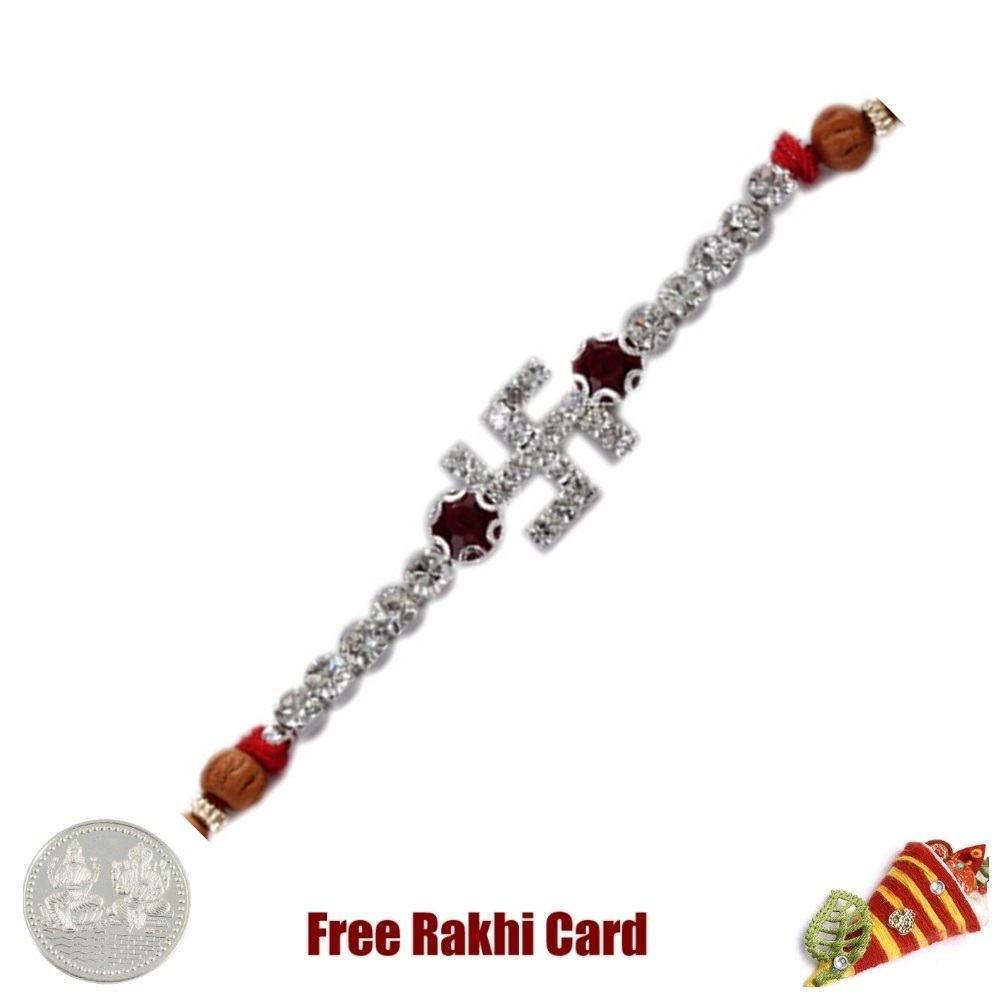 Jewelled Diamond Swastik Rakhi with Free Silver Coin