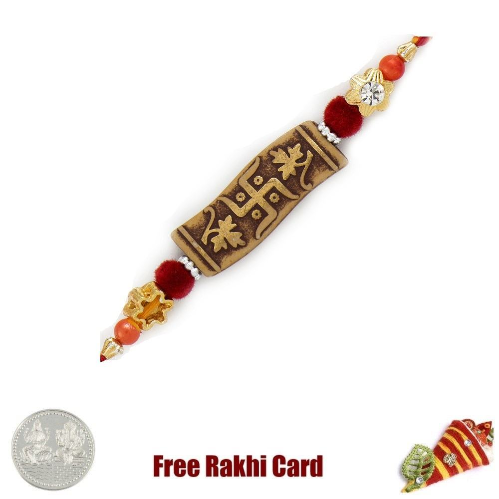 Jewelled Swastik Rakhi with Free Silver Coin