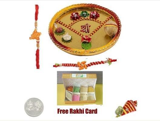 Two Rakhi & Rakhi Thali with Assorted Sweets