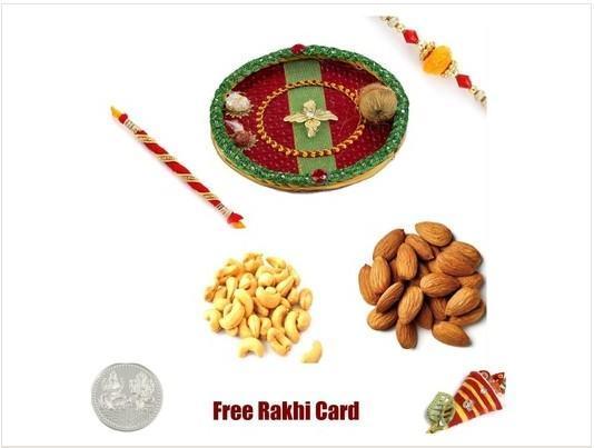 2 Rakhi & Rakhi Thali with assorted Dryfruiits