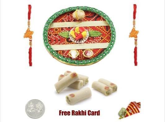 2 Rakhi & Rakhi Thali with  Assorted Rolls