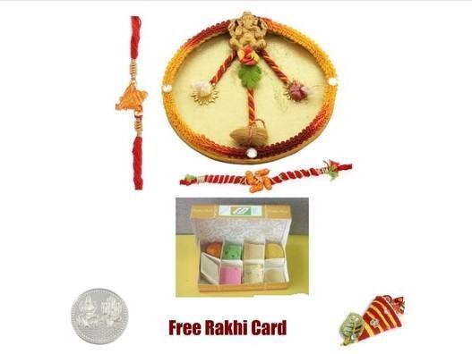 2 Rakhi & Rakhi Thali with  Assorted Sweets