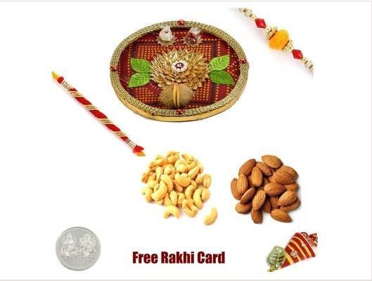 2 Rakhi &  Rakhi Thali with Almonds Cashews