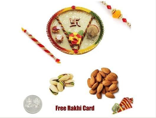 2 Rakhi &  Rakhi Thali with Almonds Pistachios