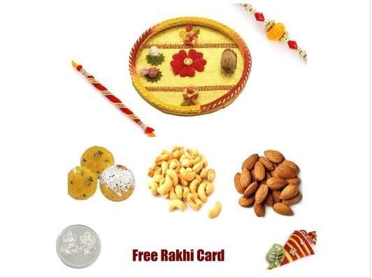 2 Rakhi &  Rakhi Thali with Boondi Ladoo and  Assorted Dryfruits
