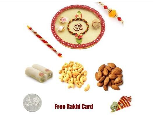 2 Rakhi & Rakhi Thali with  Assorted Rolls and  Assorted Dryfruits