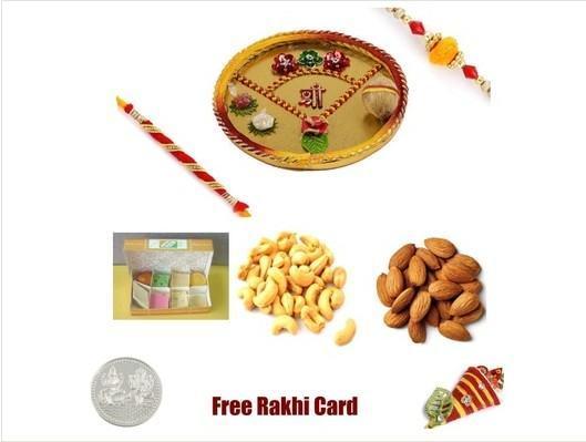 2 Rakhi & Rakhi Thali with Assorted Sweets and  Assorted Dryfruits