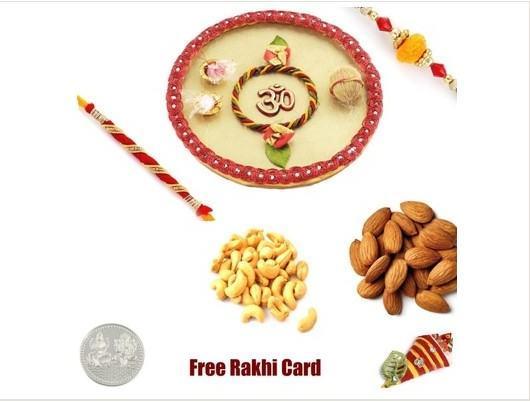 2 Rakhi & Rakhi Thali with  assorted Dryfruits