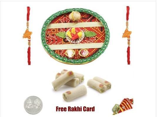 Two Rakhi & Rakhi Thali with  Kaju Roll