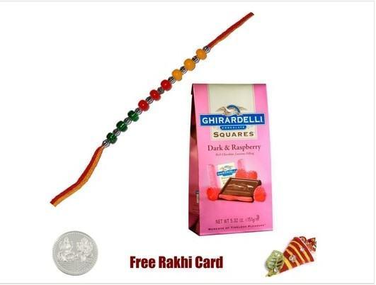 Rakhi with Ghirardelli Chocolate Squares - Dark & Raspberry