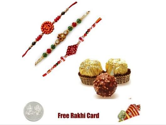 3 Rakhis with  Ferrero Rocher Chocolates