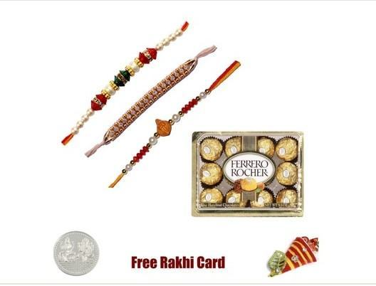 3 Rakhi with 12 Piece Ferrero Rocher  Chocolates