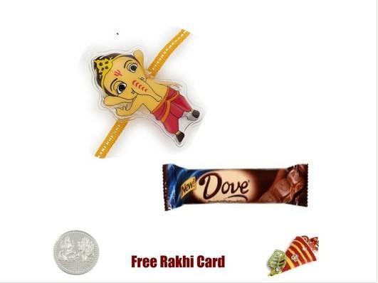 Kid Ganesh Rakhi with Dove Chocolate Bar