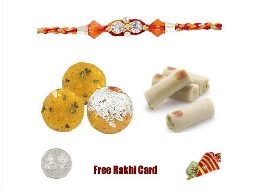 1 Rakhi with Boondi Ladoo & Assorted Rolls