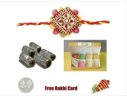 1 Rakhi with Assorted Sweets, Assorted Rolls