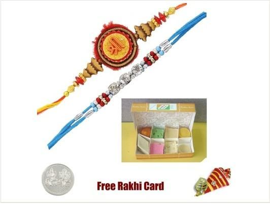 2 Rakhis with Assorted Sweets