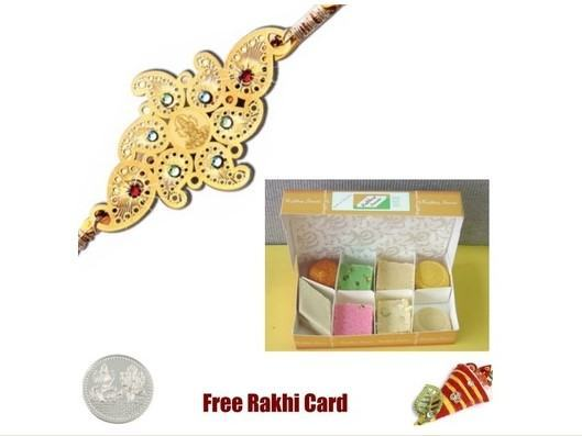 Gold Plated Rakhi with Assorted Sweets