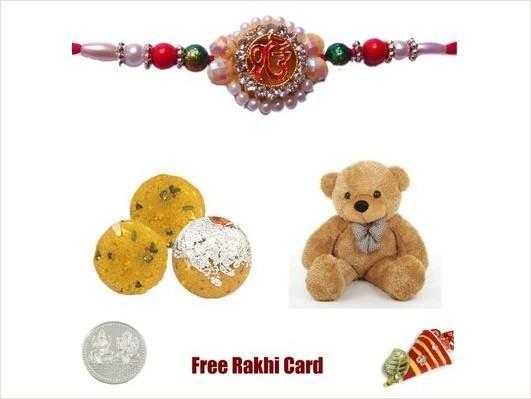 1 Rakhi with Boondi Ladoo & Teddy Bear