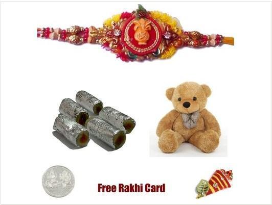 1 Rakhi with Assorted Rolls & Teddy Bear
