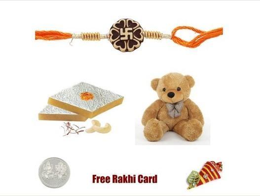 1 Rakhi with Kaju Katli & Teddy Bear