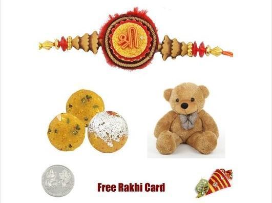 1 Rakhi with Boondi Ladoo Teddy  Bear