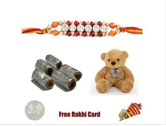 1 Rakhi with Assorted Rolls & Teddy