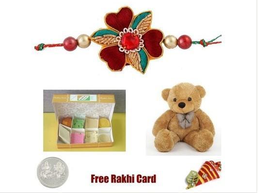 1 Rakhi with Assorted Sweets & Teddy