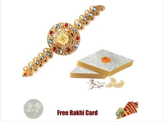 Gold Plated Rakhi with Kaju Katli
