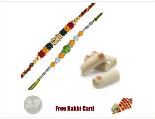 2 Rakhis with Assorted Kaju Rolls
