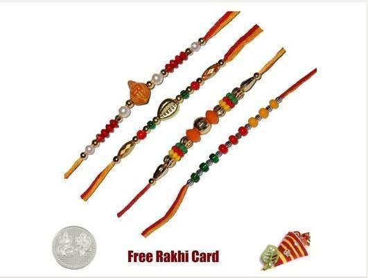 4 Beads Rakhi Set
