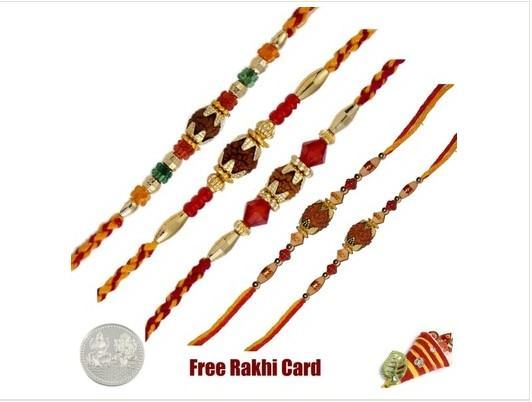 Five Rudraksh Rakhi Set