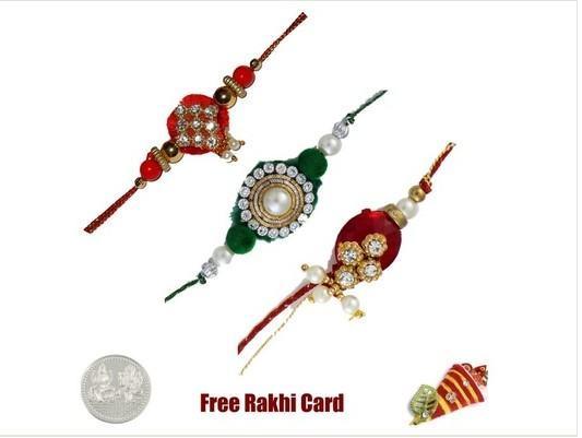 Three Zardosi Rakhi Set