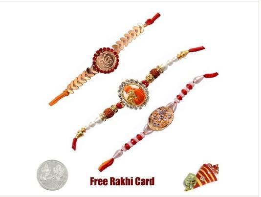 Three Jewelled Rakhi Set