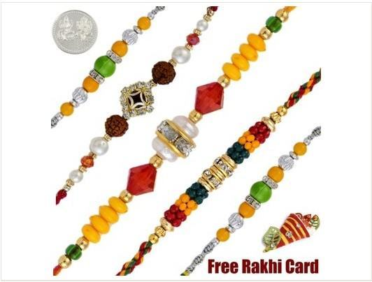 5 Beautiful Fancy Rakhi Set