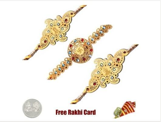 3 Golden Rakhi Set