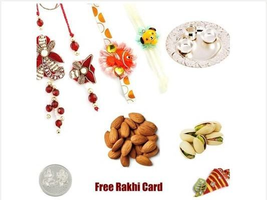 Silver Thali Family set Rakhi with Dryfruits