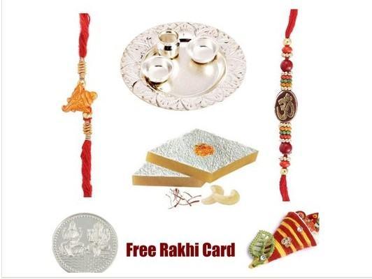 2 Rakhi Silver Thali with Kaju Katli