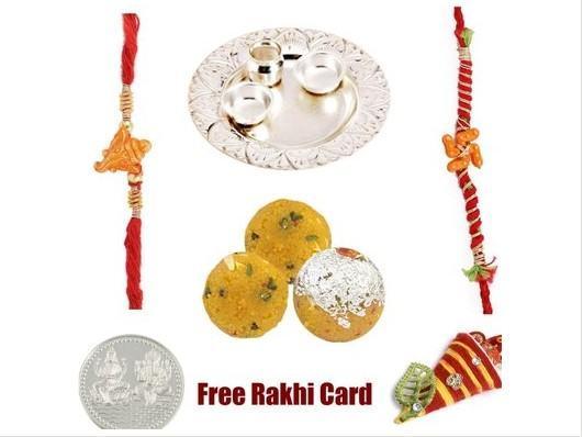 2 Rakhi Silver Rakhi Thali with Boondi Ladoo