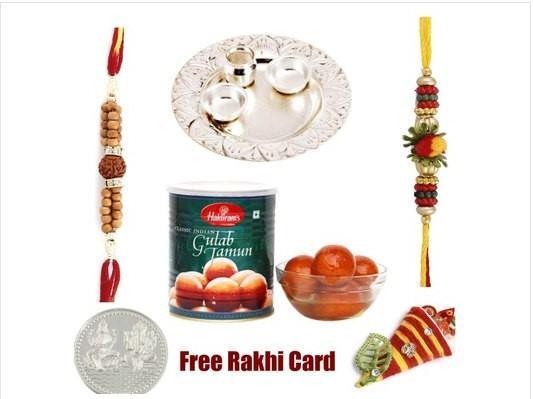 2 Rakhi, Silver Thali with Haldiram Gulab Jamun