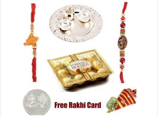 Two Rakhi Silver Thali with  Ferrero Rocher Chocolates