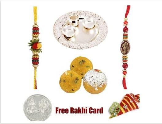 2 Rakhi Silver Thali with Boondi Ladoo