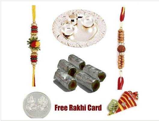 2 Rakhi, Silver Thali with Assorted Rolls
